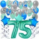 34-teiliges Geburtstagsdeko-Set mit Luftballons, Happy Birthday Aquamarin zum 75. Geburtstag