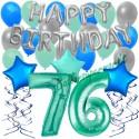 34-teiliges Geburtstagsdeko-Set mit Luftballons, Happy Birthday Aquamarin zum 76. Geburtstag