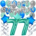 34-teiliges Geburtstagsdeko-Set mit Luftballons, Happy Birthday Aquamarin zum 77. Geburtstag