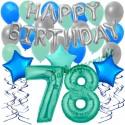 34-teiliges Geburtstagsdeko-Set mit Luftballons, Happy Birthday Aquamarin zum 78. Geburtstag