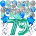 34-teiliges Geburtstagsdeko-Set mit Luftballons, Happy Birthday Aquamarin zum 79. Geburtstag