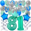 34-teiliges Geburtstagsdeko-Set mit Luftballons, Happy Birthday Aquamarin zum 81. Geburtstag