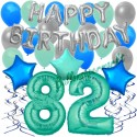 34-teiliges Geburtstagsdeko-Set mit Luftballons, Happy Birthday Aquamarin zum 82. Geburtstag