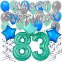 34-teiliges Geburtstagsdeko-Set mit Luftballons, Happy Birthday Aquamarin zum 83. Geburtstag