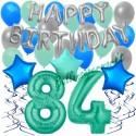 34-teiliges Geburtstagsdeko-Set mit Luftballons, Happy Birthday Aquamarin zum 84. Geburtstag