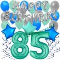 34-teiliges Geburtstagsdeko-Set mit Luftballons, Happy Birthday Aquamarin zum 85. Geburtstag