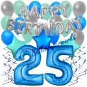 34-teiliges Geburtstagsdeko-Set mit Luftballons, Happy Birthday Blue zum 25. Geburtstag