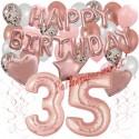 Happy Birthday Dream Rose Gold, Geburtstagsdeko-Set mit Luftballons zum 35. Geburtstag, 42-teilig
