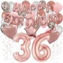 Happy Birthday Dream Rose Gold, Geburtstagsdeko-Set mit Luftballons zum 36. Geburtstag, 42-teilig