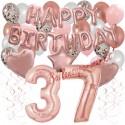 Happy Birthday Dream Rose Gold, Geburtstagsdeko-Set mit Luftballons zum 37. Geburtstag, 42-teilig