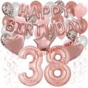 Happy Birthday Dream Rose Gold, Geburtstagsdeko-Set mit Luftballons zum 38. Geburtstag, 42-teilig