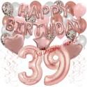 Happy Birthday Dream Rose Gold, Geburtstagsdeko-Set mit Luftballons zum 39. Geburtstag, 42-teilig