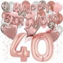 Happy Birthday Dream Rose Gold, Geburtstagsdeko-Set mit Luftballons zum 40. Geburtstag, 42-teilig