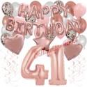 Happy Birthday Dream Rose Gold, Geburtstagsdeko-Set mit Luftballons zum 41. Geburtstag, 42-teilig