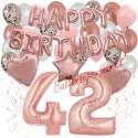 Happy Birthday Dream Rose Gold, Geburtstagsdeko-Set mit Luftballons zum 42. Geburtstag, 42-teilig