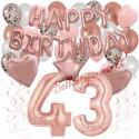 Happy Birthday Dream Rose Gold, Geburtstagsdeko-Set mit Luftballons zum 43. Geburtstag, 42-teilig