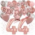 Happy Birthday Dream Rose Gold, Geburtstagsdeko-Set mit Luftballons zum 44. Geburtstag, 42-teilig