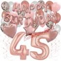 Happy Birthday Dream Rose Gold, Geburtstagsdeko-Set mit Luftballons zum 45. Geburtstag, 42-teilig