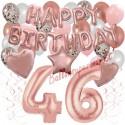 Happy Birthday Dream Rose Gold, Geburtstagsdeko-Set mit Luftballons zum 46. Geburtstag, 42-teilig