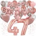 Happy Birthday Dream Rose Gold, Geburtstagsdeko-Set mit Luftballons zum 47. Geburtstag, 42-teilig