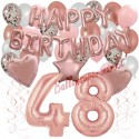 Happy Birthday Dream Rose Gold, Geburtstagsdeko-Set mit Luftballons zum 48. Geburtstag, 42-teilig