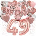 Happy Birthday Dream Rose Gold, Geburtstagsdeko-Set mit Luftballons zum 49. Geburtstag, 42-teilig