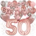 Happy Birthday Dream Rose Gold, Geburtstagsdeko-Set mit Luftballons zum 50. Geburtstag, 42-teilig