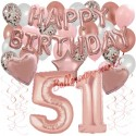 Happy Birthday Dream Rose Gold, Geburtstagsdeko-Set mit Luftballons zum 51. Geburtstag, 42-teilig