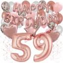 Happy Birthday Dream Rose Gold, Geburtstagsdeko-Set mit Luftballons zum 59. Geburtstag, 42-teilig