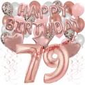 Happy Birthday Dream Rose Gold, Geburtstagsdeko-Set mit Luftballons zum 79. Geburtstag, 42-teilig