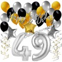 Geburtstagsdeko-Set mit Luftballons, Happy Birthday Glamour zum 49. Geburtstag, 34-teilig
