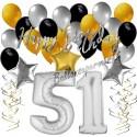Geburtstagsdeko-Set mit Luftballons, Happy Birthday Glamour zum 51. Geburtstag, 34-teilig