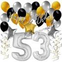 Geburtstagsdeko-Set mit Luftballons, Happy Birthday Glamour zum 53. Geburtstag, 34-teilig