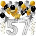 Geburtstagsdeko-Set mit Luftballons, Happy Birthday Glamour zum 57. Geburtstag, 34-teilig