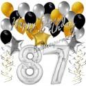Geburtstagsdeko-Set mit Luftballons, Happy Birthday Glamour zum 87. Geburtstag, 34-teilig