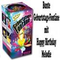 Bunte Geburtstags-Fontäne, kleines Feuerwerk zur Geburtstagsparty, Happy Birthday Melodie