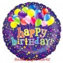 Geburtstags-Luftballon Happy Birthday mit Ballontrauben an Luftballons, inklusive Helium