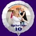 Fotoballon, weißer Rundluftballon aus Folie mit dem Foto des Geburtstagskindes zum Kindergeburtstag. Inklusive Helium
