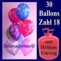 Helium- Einwegbehälter mit 30 Zahlenballons zum 18. Geburtstag