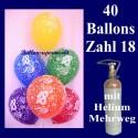 Helium- Mehrwegbehälter mit 40 Zahlen-Luftballons zum 18. Geburtstag