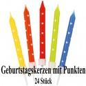 Geburtstagskerzen, 24 Stück, bunt, mit Punkten, inklusive 12 Kerzenhaltern