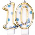 Zahlenkerzen Blue Dots 10, Kerzen zum 10. Geburtstag und Jubiläum