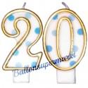 Zahlenkerzen Blue Dots 20, Kerzen zum 20. Geburtstag und Jubiläum