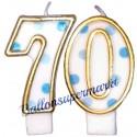 Zahlenkerzen Blue Dots 70, Kerzen zum 70. Geburtstag und Jubiläum