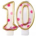 Zahlenkerzen Pink Dots 10, Kerzen zum 10. Geburtstag und Jubiläum