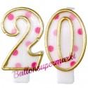 Zahlenkerzen Pink Dots 20, Kerzen zum 20. Geburtstag und Jubiläum