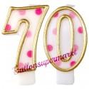 Zahlenkerzen Pink Dots 70, Kerzen zum 70. Geburtstag und Jubiläum
