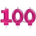 Zahlenkerzen Pink Celebration 100, Kerzen zum 100. Geburtstag und Jubiläum