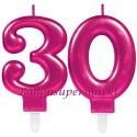 Zahlenkerzen Pink Celebration 30, Kerzen zum 30. Geburtstag und Jubiläum