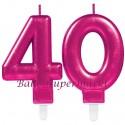 Zahlenkerzen Pink Celebration 40, Kerzen zum 40. Geburtstag und Jubiläum